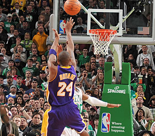 Kobe Bryant makes the Celtics his latest victim, hitting a jumper with 7.3 seconds left.  (Getty Images)