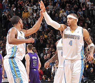 K-Mart (4) and the Nuggets improve to 3-0 in overtime and avoid being swept by the Kings.  (Getty Images)