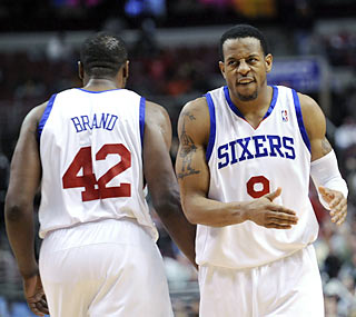 Elton Brand and Andre Iguodala combine for 51 of the Sixers' points, including a key 3 by Iguodala in OT.  (AP)