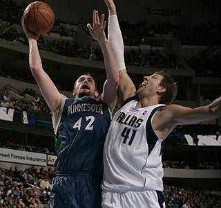 Kevin Love nets a double-double while Dirk Nowitzki scores 21 points despite not starting.  (Getty Images)