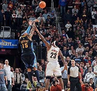 Carmelo Anthony rises up and buries the game-winning shot over LeBron. (Getty Images)