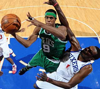 Rajon Rondo sparks the Celtics in the third quarter and finishes with 16 points and 11 assists.  (Getty Images)