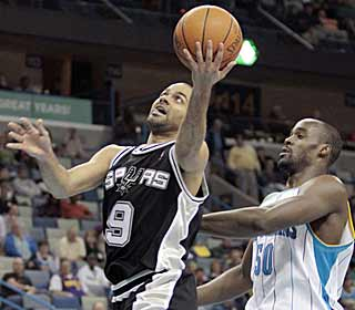 With 20 points, Tony Parker is one of seven Spurs to finish in double figures. (AP)