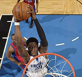 Orlando's Mickael Pietrus makes only three field goals, this one being the most memorable.  (Getty Images)