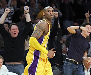 How often this season have we seen this? Kobe hits game-winning shot, Lakers fans go bonkers.  (AP)