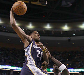 Former UConn star Rudy Gay sparkles in New England again with a game-high 28 points.  (Getty Images)
