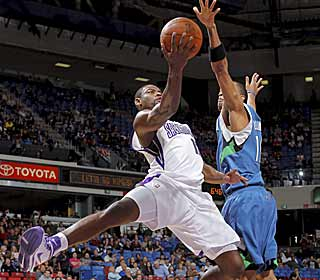 The Kings' Tyreke Evans falls one rebound short of his second career triple-double. (Getty Images)