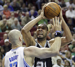 To say Orlando frustrates Tim Duncan (5 points, 1-of-10 shooting) would be a major understatement.  (AP)
