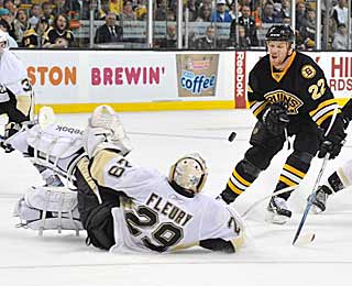 Marc-Andre Fleury isn't afraid to give up his body to stop all of Boston's 17 shots. (Getty Images)