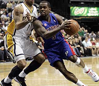 Two weeks after collapsing on the bench, Rodney Stuckey returns to lead Detroit with 25 points. (AP)