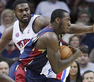 J.J. Hickson leads the Cavs' charge during the decisive third quarter against the Pistons. (AP)