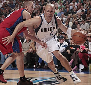 Jason Kidd can't take his birthday off. He takes on the scoring load to help Dallas hang on.  (Getty Images)