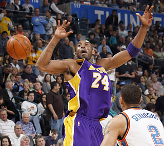 The Thunder hold Kobe Bryant to 11 points and force him to commit nine turnovers.  (Getty Images)
