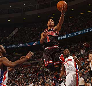 Derrick Rose leads the Bulls to their first season sweep of the Pistons since the days of Michael Jordan. (AP)