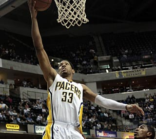Danny Granger carries Indiana in the second half when he scores 25 of his 33 points.  (AP)