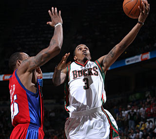 Brandon Jennings doesn't play like a rookie, scoring 17 points with six assists.  (Getty Images)
