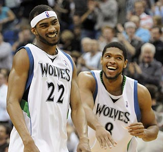 Corey Brewer (22) and Ryan Gomes can break out their late-game grins for the first time in 36 days. (AP)