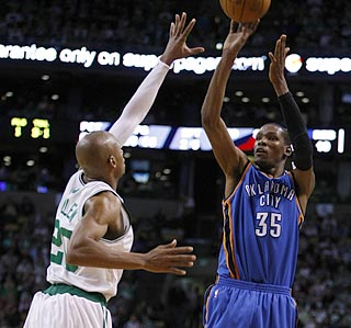 Kevin Durant has a decent outing from the field and a perfect one from the line to boost OKC.  (US Presswire)