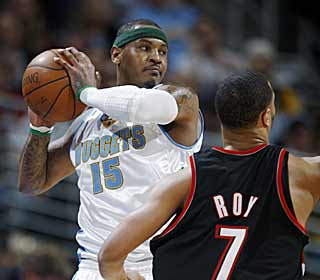 Carmelo Anthony gets serious and helps the Nuggets end their tumble down the standings. (AP)