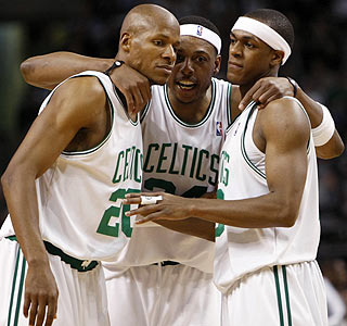Ray Allen (25 points), Paul Pierce and Rajon Rondo head to Miami with a 2-0 series lead.  (US Presswire)