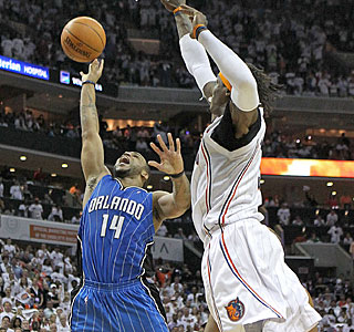 Jameer Nelson is too much for the Bobcats to handle and Orlando is one win from Round 2.  (Getty Images)