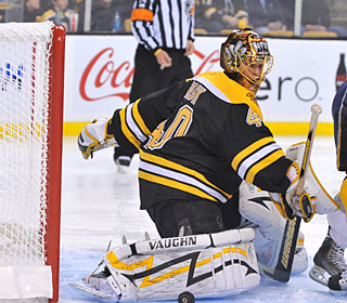 Tuukka Rask makes 27 saves as the Bruins will face either the Flyers or Pens next.  (Getty Images)