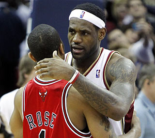 LeBron James and Derrick Rose embrace after the Cavs pull out a hard-fought series over the Bulls.