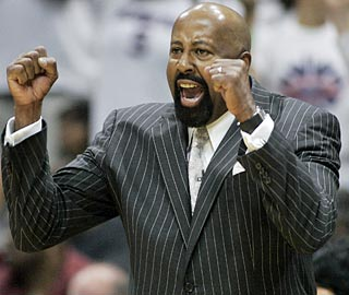 Hawks coach Mike Woodson has lots of reasons to cheer and few worries on Sunday.  (AP)