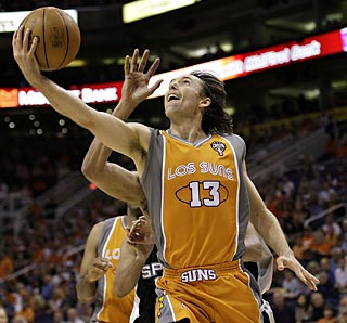 Steve Nash scores 19 points and gets a big assist from the bench to help the Suns hold serve at home.  (AP)