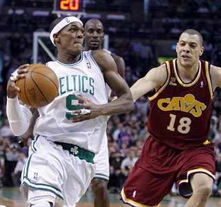 Rajon Rondo exploits the Cavs D, getting into the lane for many of his game-high 29 points.  (US Presswire)
