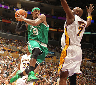 Rajon Rondo racks up 19 points, 12 rebounds and 10 dimes for his fifth playoff triple-double.  (Getty Images)