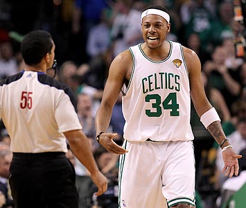Paul Pierce is having as much trouble with the refs as he is with his shot or Ron Artest's defense. (Getty Images)