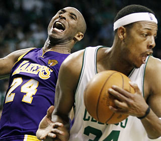 Kobe posts a game-high 38 points -- including 23 straight -- but Paul Pierce and Co. seize the win.  (AP)