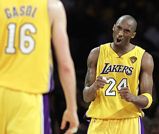 Pau Gasol (17 points, 13 boards) and the Lakers have Kobe's back in Game 6, and it pays off.  (AP)