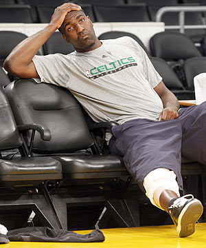 Kendrick Perkins will be forced to watch Game 7 from the Celtics' bench. (AP)