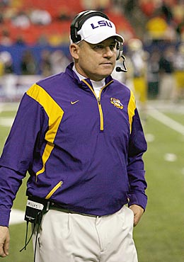 Les Miles is on board for a week-long furlough to help LSU's budget. Will anyone else follow? (Getty Images)
