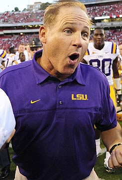 'Our football team will beat you up and steal the game ...,' coach Les Miles says. (US Presswire)