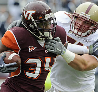 Ryan Williams (159 yards, touchdown) and Virginia Tech run at will on the Boston College defense.  (AP)