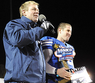 Bronco Mendenhall and Max Hall celebrate after winning another bowl game in Vegas. (US Presswire)