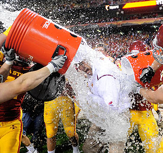 Iowa State coach Paul Rhodes gets a victory bath following the victory at the Insight Bowl.  (US Presswire)