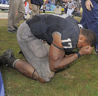 Daryll Clark is overcome with emotion following Penn State's win at the Capital One Bowl ...