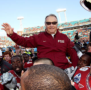 Bobby Bowden gets a ride off the field from his players following the coach's final game at FSU.