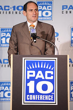 Commissioner Larry Scott and the Pac-10 could add two members to the conference. (US Presswire)