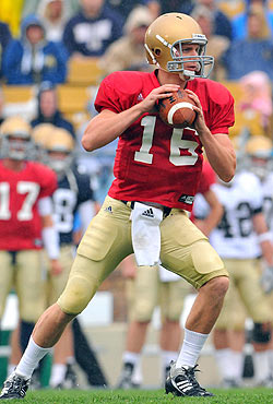 Notre Dame QB Nate Montana provides name power, and maybe a little star power as well. (US Presswire)