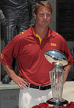 Kiffin and the Trojans won't be playing for the Leishman Trophy -- the Rose Bowl award -- anytime soon. (US Presswire)