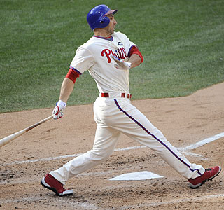 Raul Ibanez records two hits and a pair of RBI during Game 1 of the NLDS in Philadelphia.  (US Presswire)