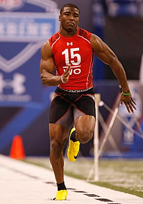 Depending on which inexact science you prefer, Jacoby Ford might or might not have the second-fastest 40 in combine annals. (Getty Images)