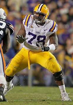 LSU's Joseph Barksdale has started every game at right tackle the past two seasons. (US Presswire)