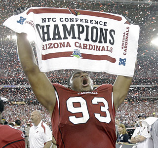 It's a first for rookie Calais Campbell and the Cardinals -- NFC champs, a trip to the Super Bowl.