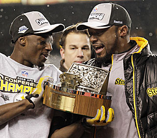 Santonio Holmes and Mike Tomlin, who can be the youngest coach to win a Super Bowl at 36, are headed to Tampa.